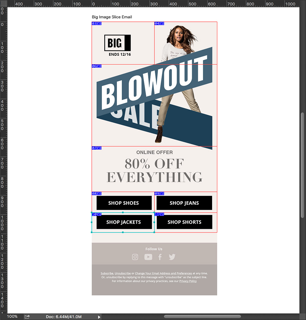 Slicing email design in photoshop